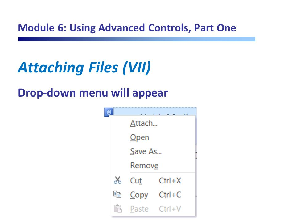Module 6: Using Advanced Controls, Part One Attaching Files (VII) Drop-down menu will appear
