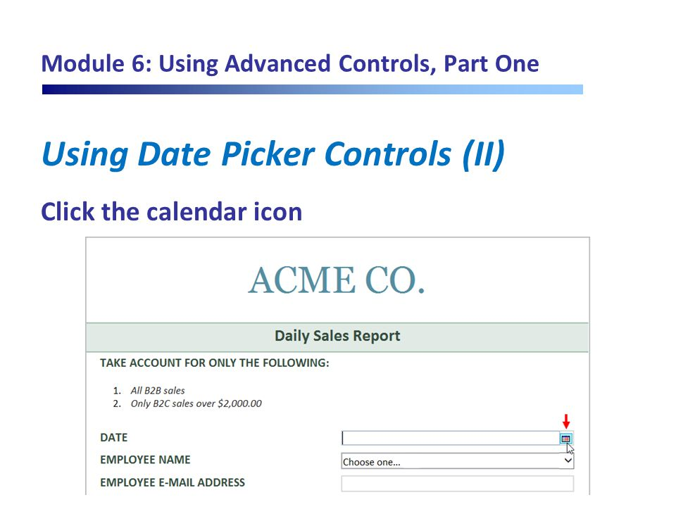 Module 6: Using Advanced Controls, Part One Using Date Picker Controls (II) Click the calendar icon