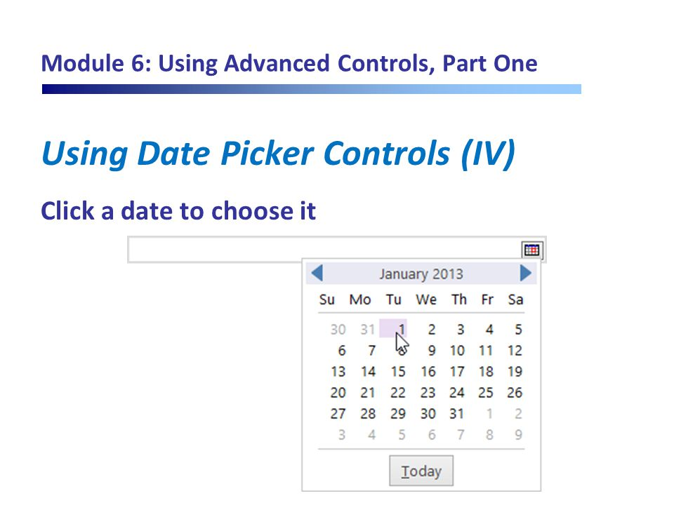 Module 6: Using Advanced Controls, Part One Using Date Picker Controls (IV) Click a date to choose it