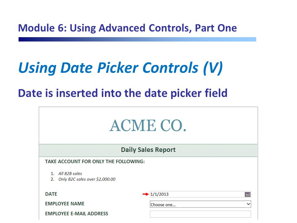 Module 6: Using Advanced Controls, Part One Using Date Picker Controls (V) Date is inserted into the date picker field