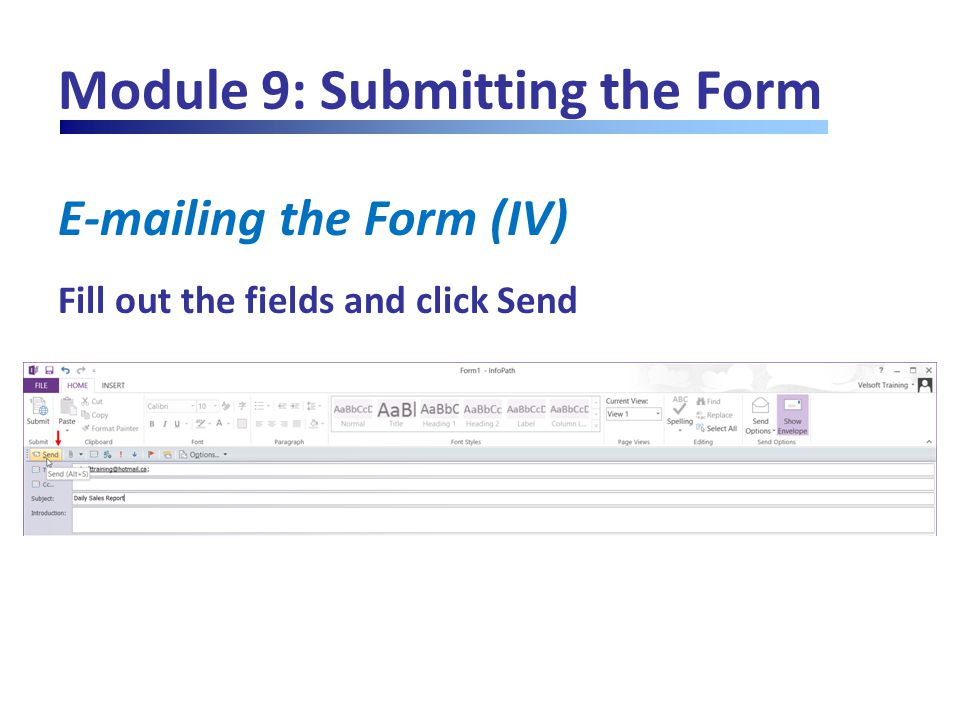 Module 9: Submitting the Form E-mailing the Form (IV) Fill out the fields and click Send