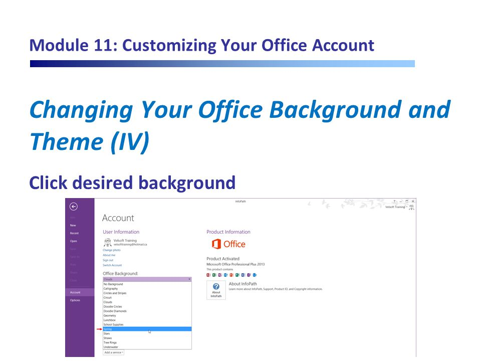 Module 11: Customizing Your Office Account Changing Your Office Background and Theme (IV) Click desired background