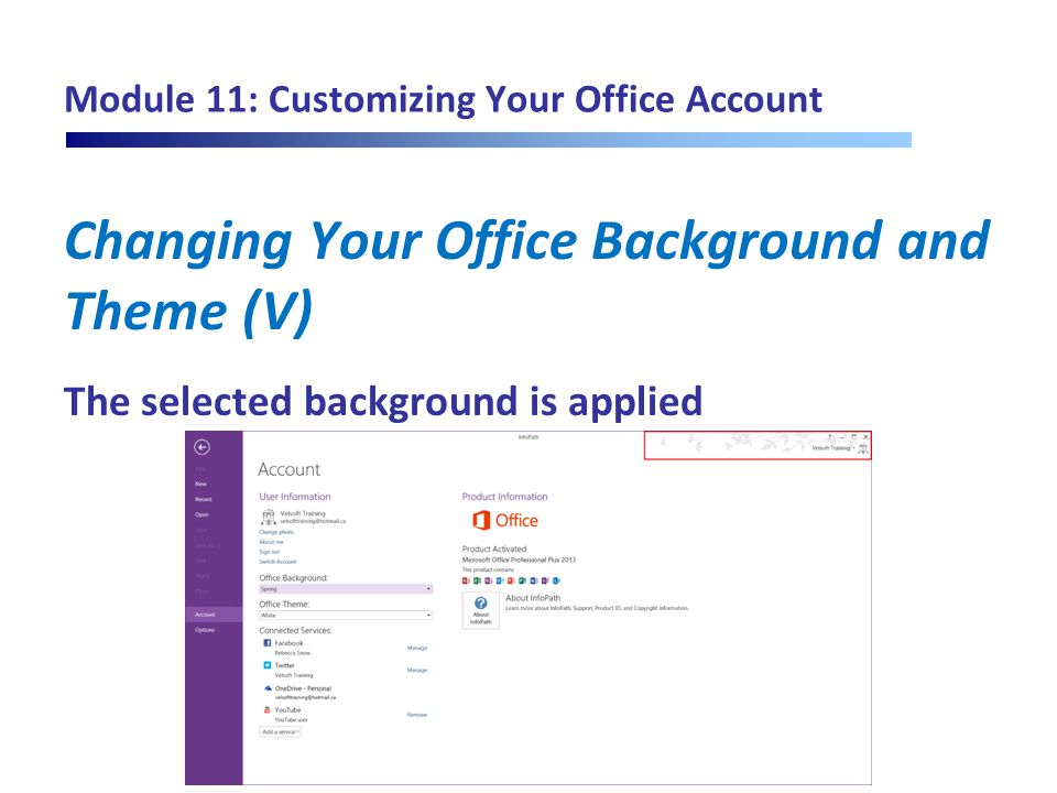 Module 11: Customizing Your Office Account Changing Your Office Background and Theme (V) The selected background is applied