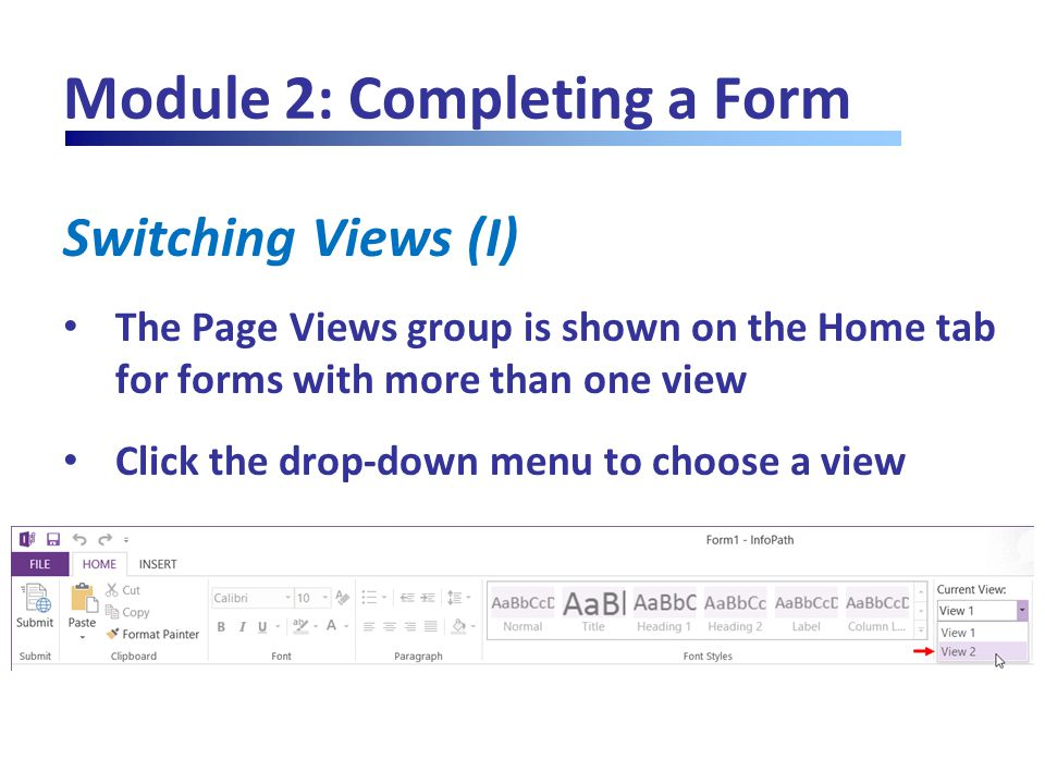 Module 2: Completing a Form Switching Views (I) The Page Views group is shown on the Home tab for forms with more than one view Click the drop-down me