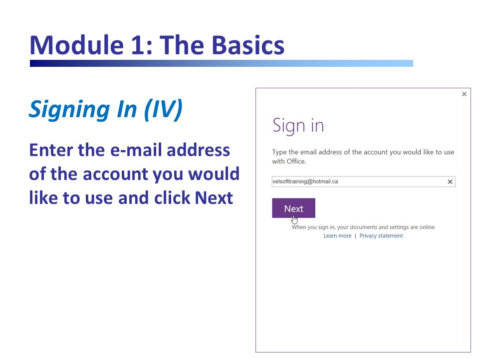 Module 1: The Basics Signing In (V) Enter the password for the account you're using and click Sign in