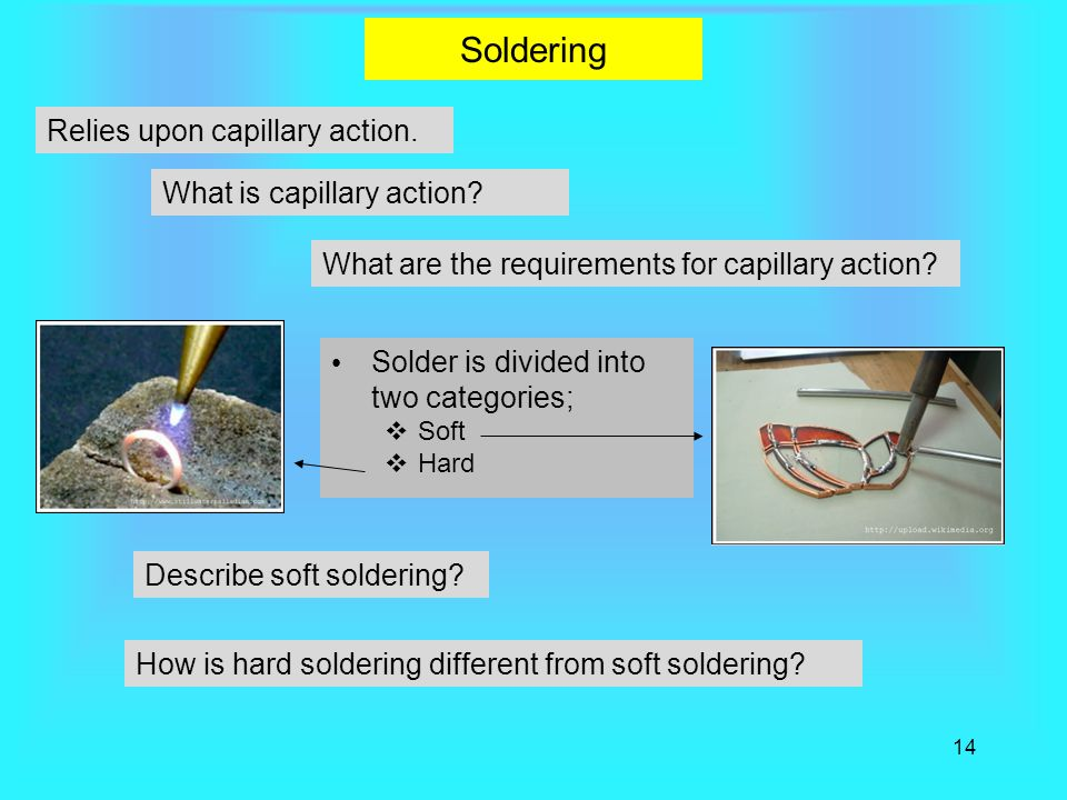 14 Soldering Solder is divided into two categories;  Soft  Hard Relies upon capillary action.