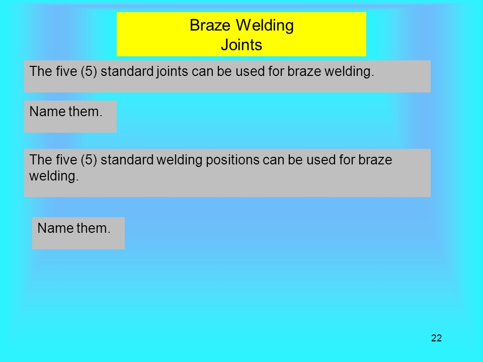 22 Braze Welding Joints The five (5) standard joints can be used for braze welding.