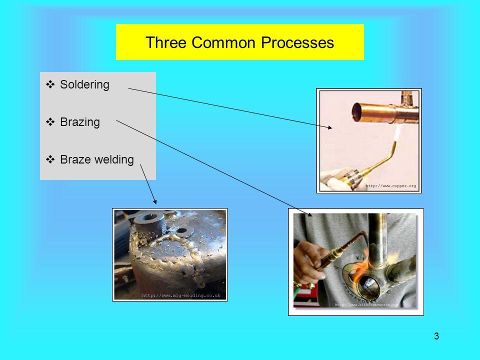 3 Three Common Processes  Soldering  Brazing  Braze welding