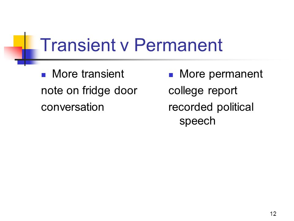 12 Transient v Permanent More transient note on fridge door conversation More permanent college report recorded political speech
