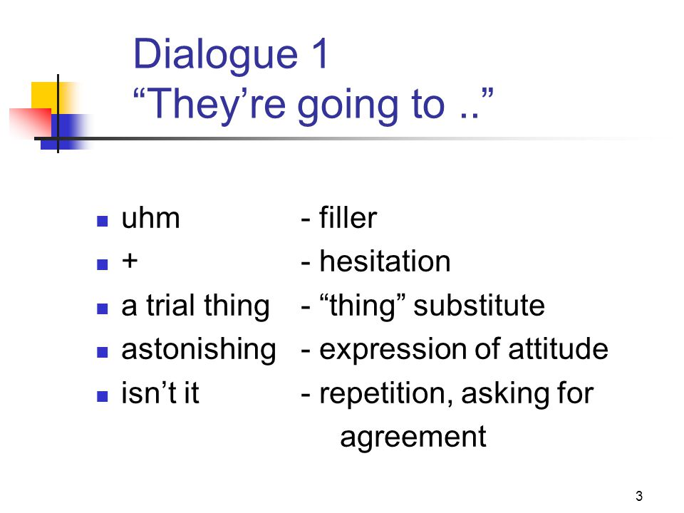 """3 Dialogue 1 """"They're going to.."""" uhm- filler +- hesitation a trial thing- """"thing"""" substitute astonishing - expression of attitude isn't it- repetitio"""