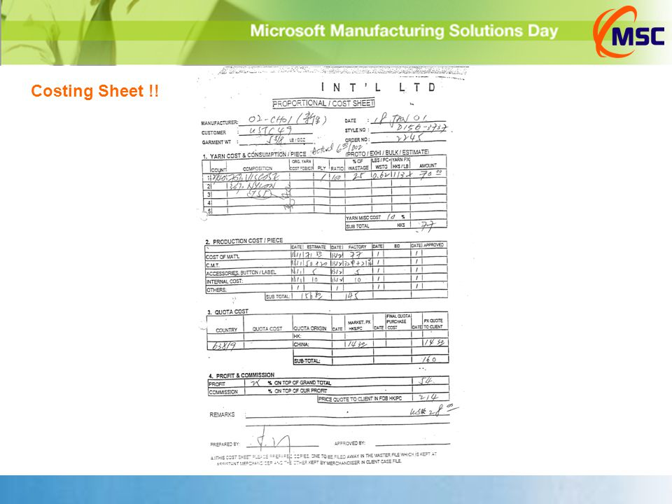 Costing Sheet !!