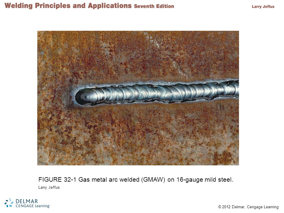 © 2012 Delmar, Cengage Learning Mild Steel Welds Characteristics –Easiest metal to gas weld –Welds with 100% integrity possible –Secondary flame shields molten weld pool from the air –Atmospheric oxygen combines with carbon monoxide to produce carbon dioxide –Carbon dioxide forces surrounding atmosphere away from the weld