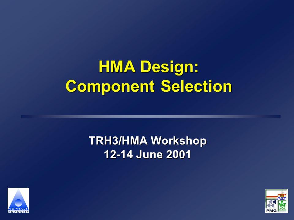 HMA Design: Component Selection TRH3/HMA Workshop 12-14 June 2001