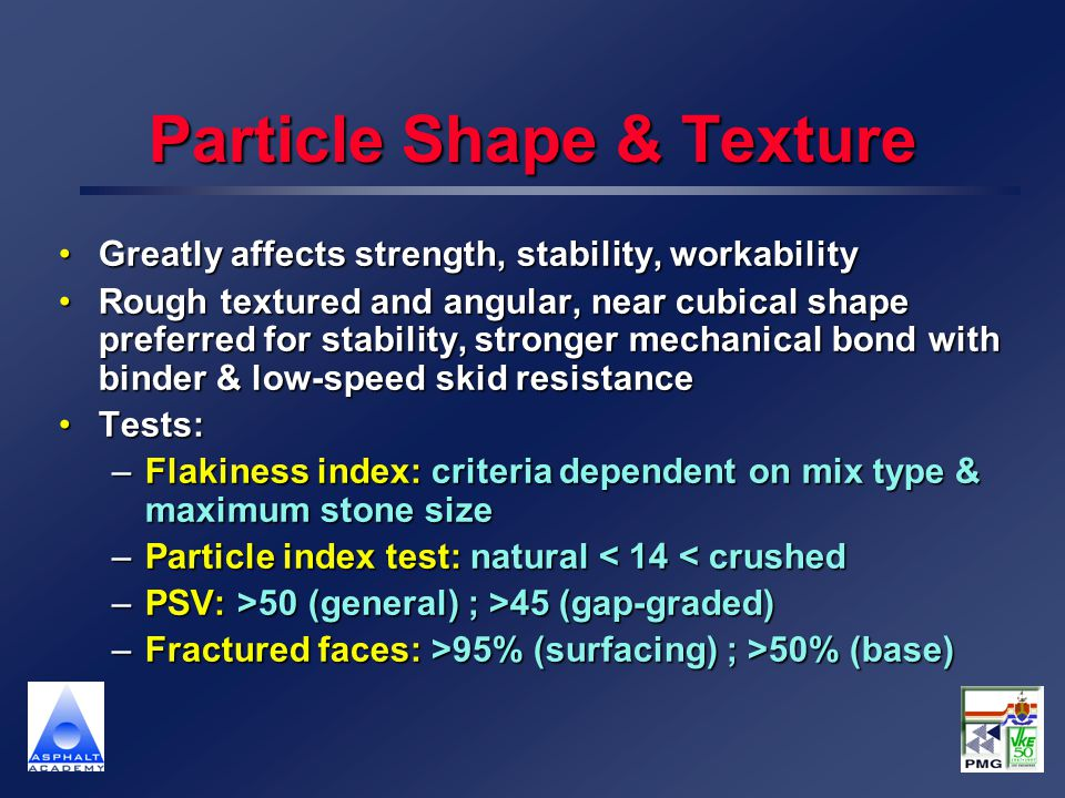 Particle Shape & Texture Greatly affects strength, stability, workabilityGreatly affects strength, stability, workability Rough textured and angular,