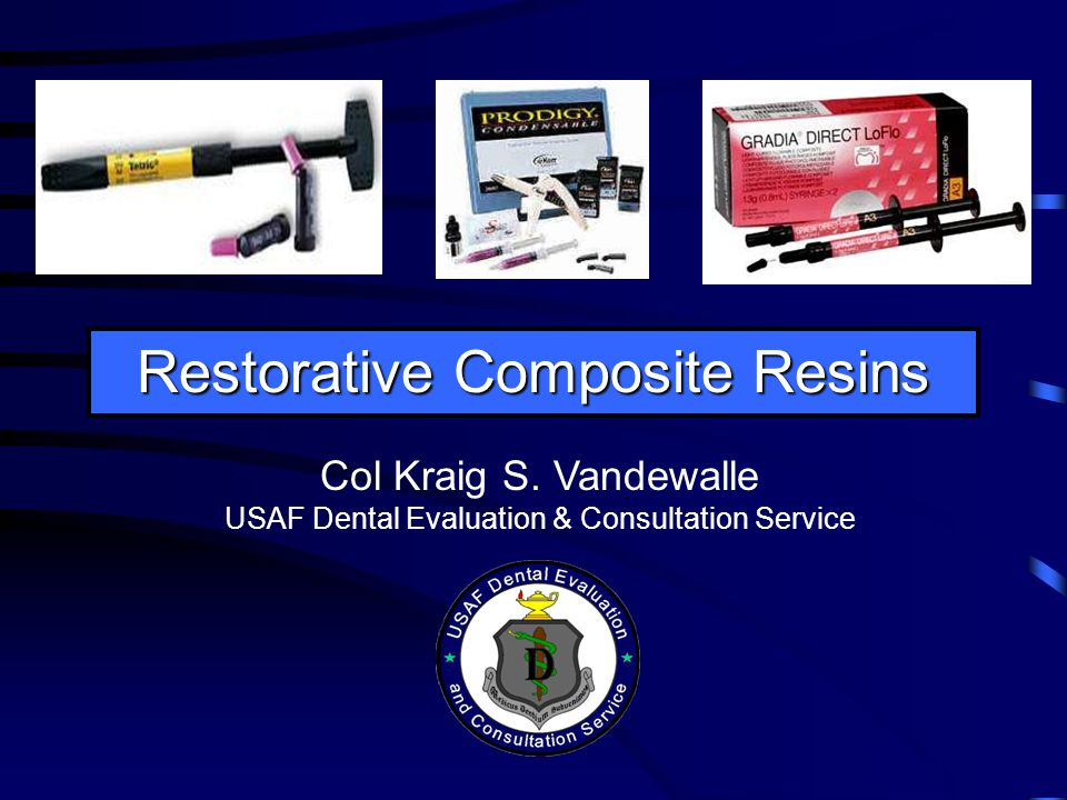Purchasing Considerations Federal Service Simple universal hybrid kit in compact case for routine individual use in operatories or suites –many systems available e.g., Prodigy (Kerr) More complete universal hybrid kit for general use by entire facility or training program –several systems available e.g., 4 Seasons (Ivoclar Vivadent) Click here for synopsis of restorative composite resinshere