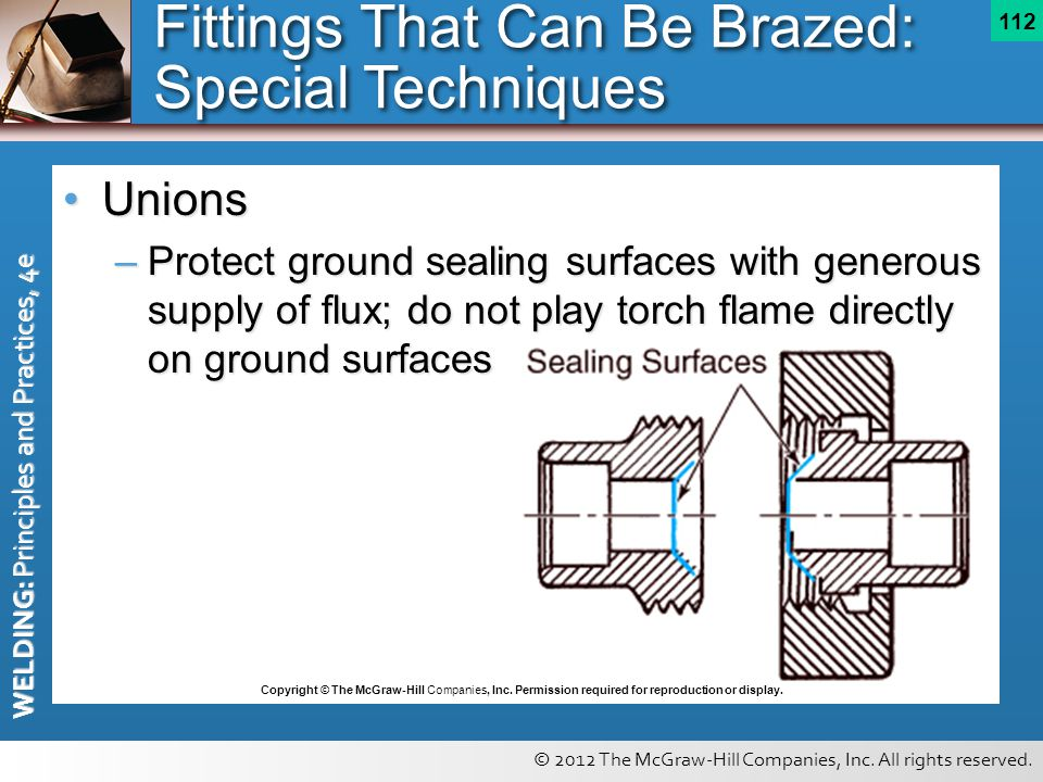 © 2012 The McGraw-Hill Companies, Inc. All rights reserved. WELDING: Principles and Practices, 4e 112 UnionsUnions –Protect ground sealing surfaces wi