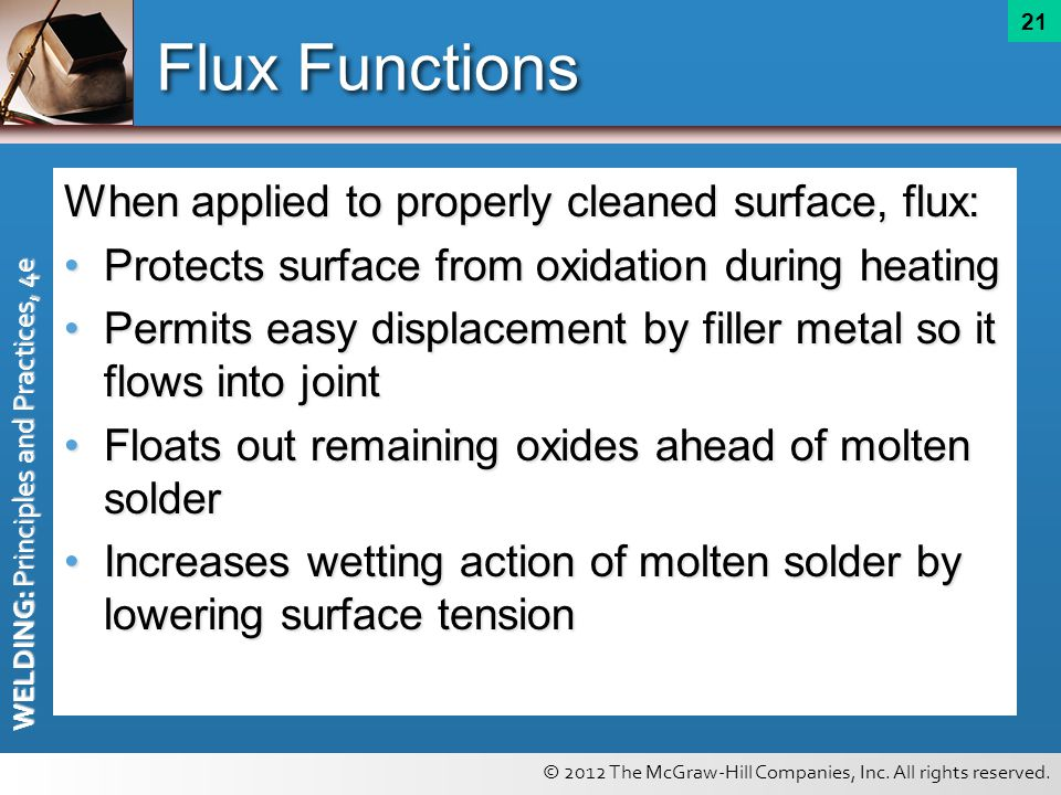 © 2012 The McGraw-Hill Companies, Inc. All rights reserved. WELDING: Principles and Practices, 4e 21 Flux Functions When applied to properly cleaned s