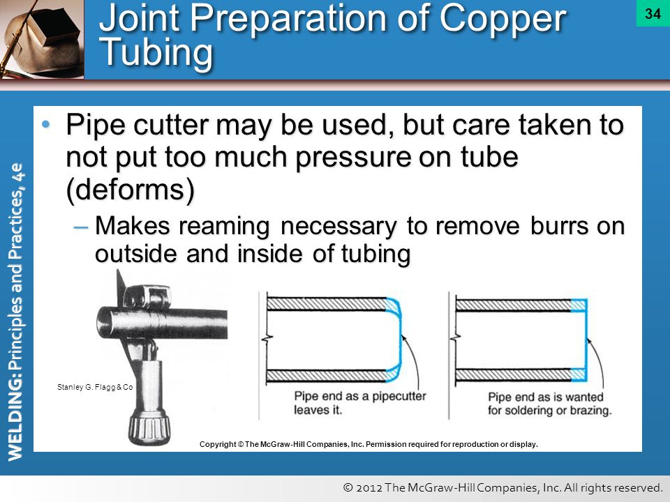 © 2012 The McGraw-Hill Companies, Inc. All rights reserved. WELDING: Principles and Practices, 4e 34 Pipe cutter may be used, but care taken to not pu