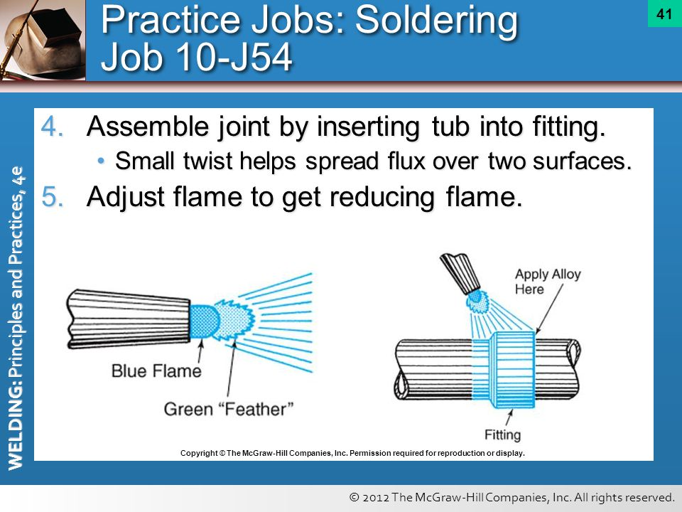 © 2012 The McGraw-Hill Companies, Inc. All rights reserved. WELDING: Principles and Practices, 4e 41 4.Assemble joint by inserting tub into fitting. S
