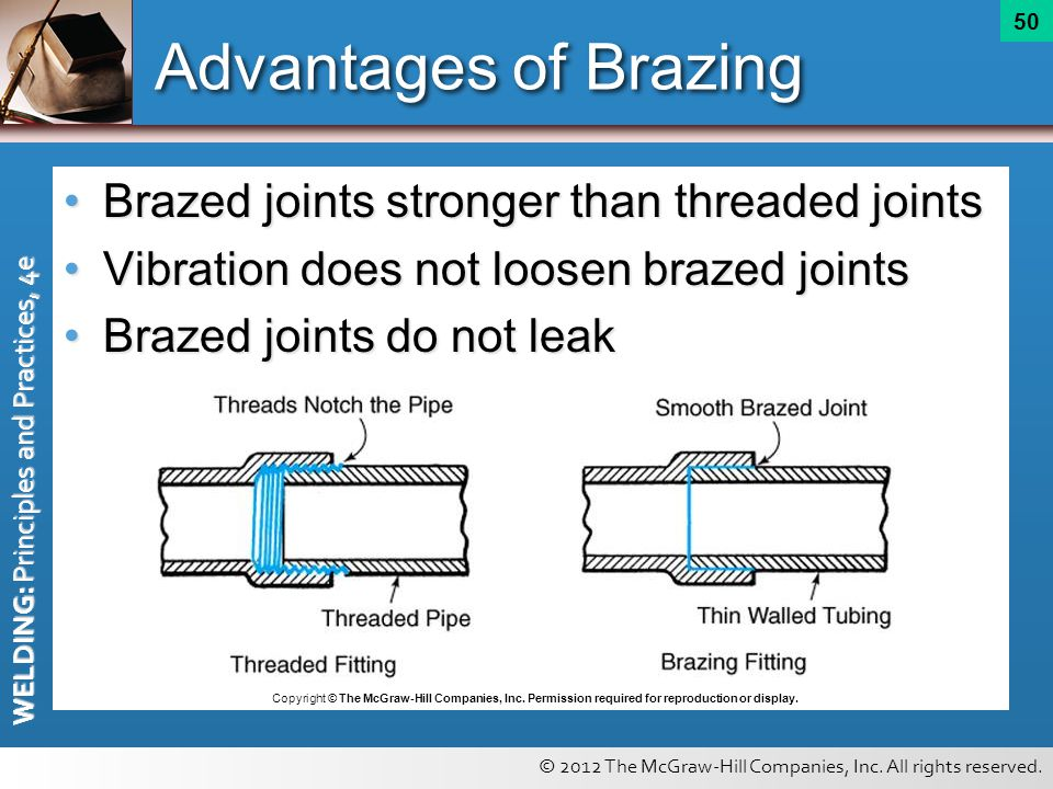 © 2012 The McGraw-Hill Companies, Inc. All rights reserved. WELDING: Principles and Practices, 4e 50 Advantages of Brazing Brazed joints stronger than