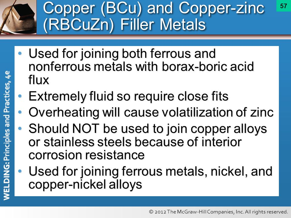 © 2012 The McGraw-Hill Companies, Inc. All rights reserved. WELDING: Principles and Practices, 4e 57 Copper (BCu) and Copper-zinc (RBCuZn) Filler Meta