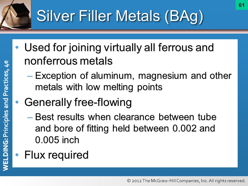 © 2012 The McGraw-Hill Companies, Inc. All rights reserved. WELDING: Principles and Practices, 4e 61 Silver Filler Metals (BAg) Used for joining virtu