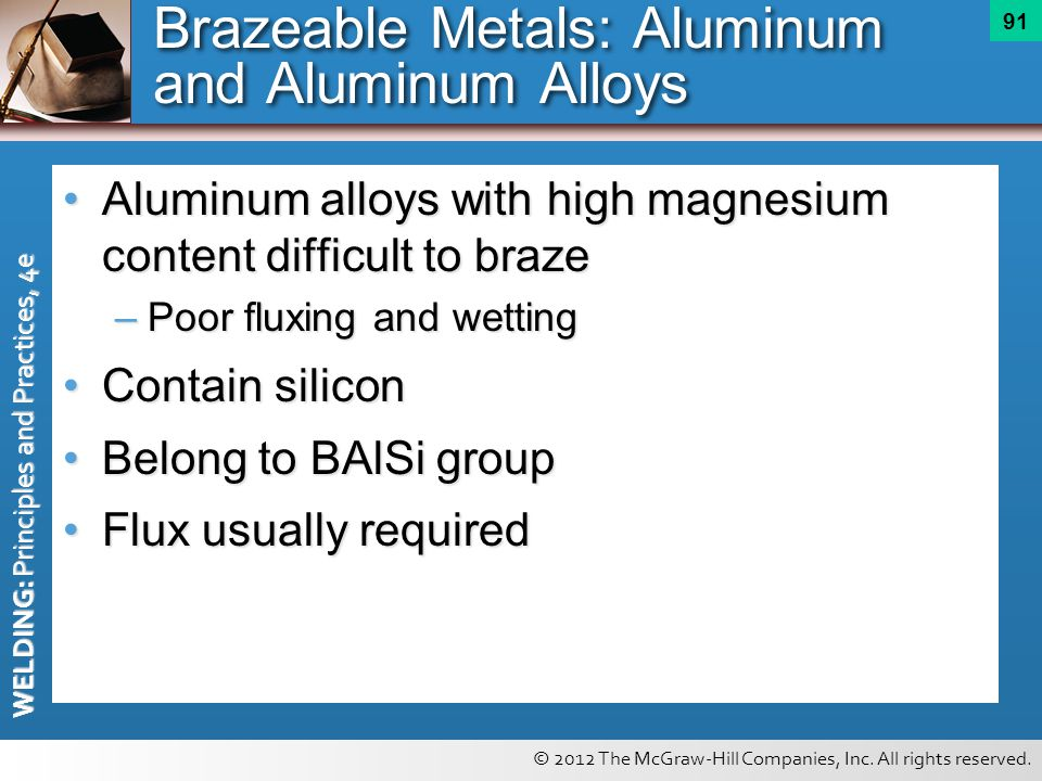 © 2012 The McGraw-Hill Companies, Inc. All rights reserved. WELDING: Principles and Practices, 4e 91 Brazeable Metals: Aluminum and Aluminum Alloys Al