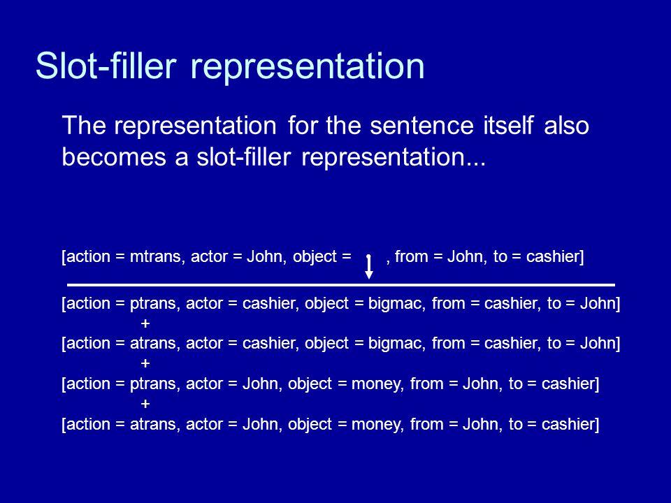 Slot-filler representation The representation for the sentence itself also becomes a slot-filler representation...