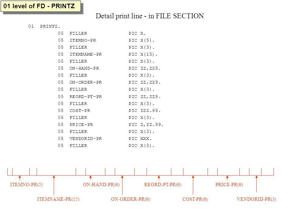01 PRINTZ. 05 FILLER PIC X. 05 ITEMNO-PR PIC X(5).