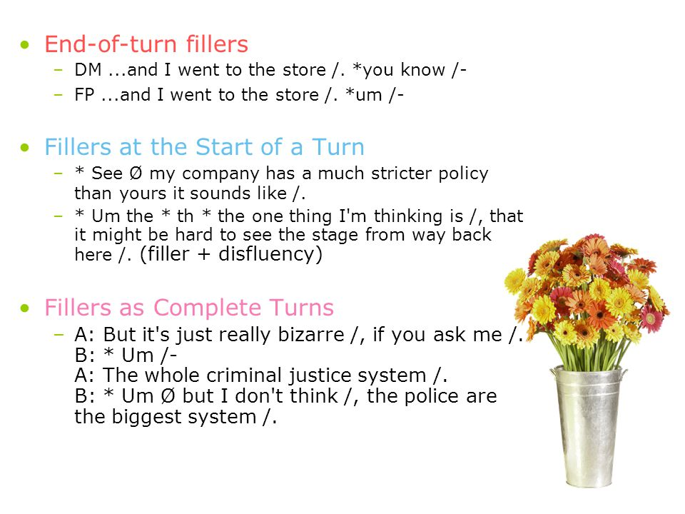 End-of-turn fillers –DM...and I went to the store /.