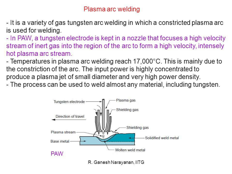 R. Ganesh Narayanan, IITG Plasma arc welding - It is a variety of gas tungsten arc welding in which a constricted plasma arc is used for welding. - In