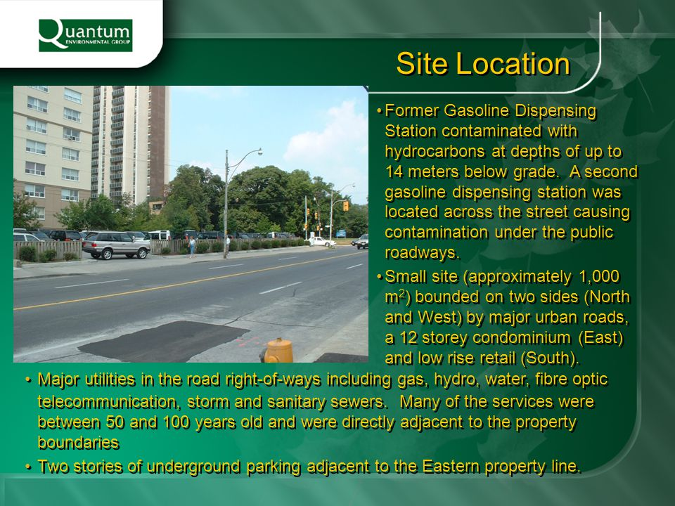 Former Gasoline Dispensing Station contaminated with hydrocarbons at depths of up to 14 meters below grade. A second gasoline dispensing station was l