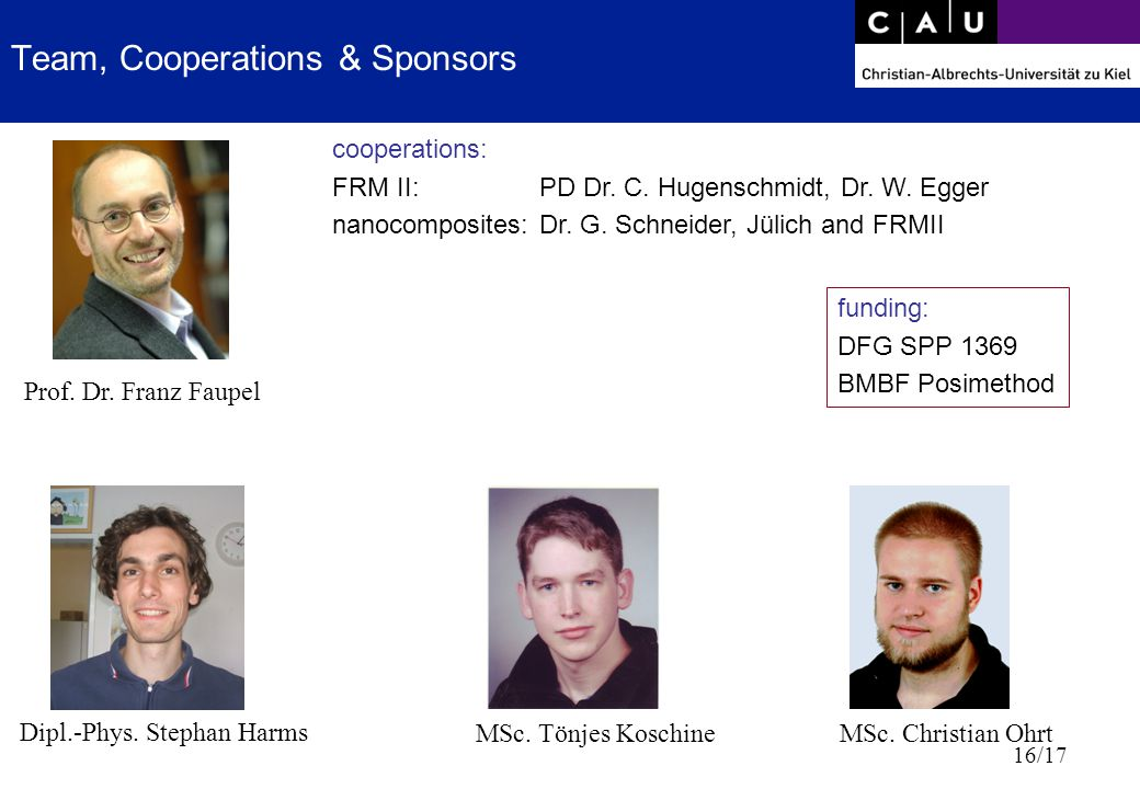 16/17 Team, Cooperations & Sponsors Prof. Dr. Franz Faupel MSc.