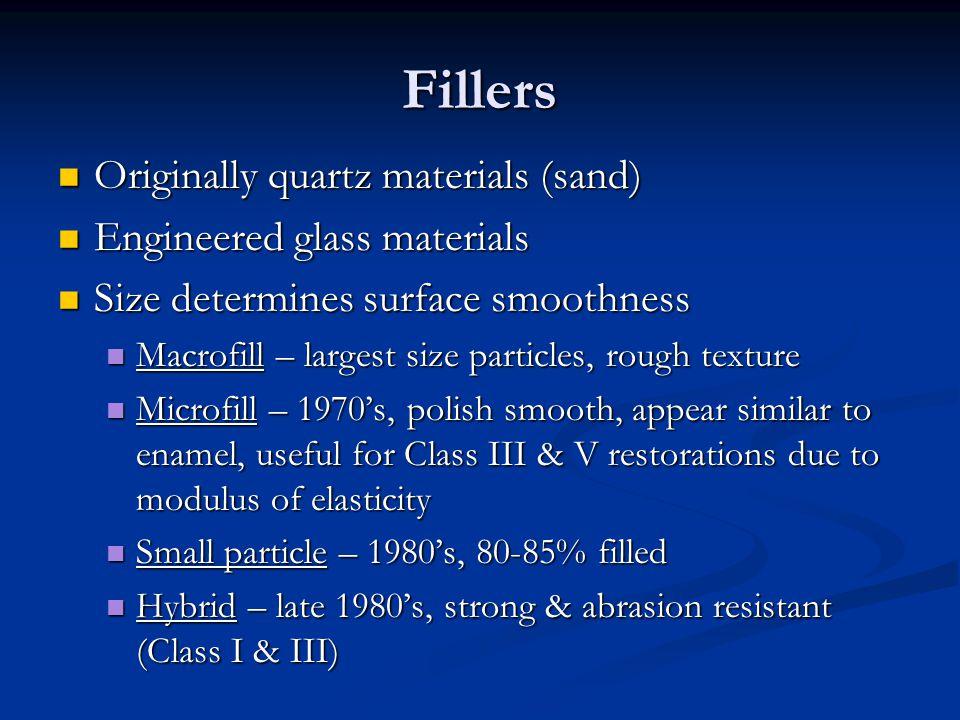 Fillers Originally quartz materials (sand) Originally quartz materials (sand) Engineered glass materials Engineered glass materials Size determines su