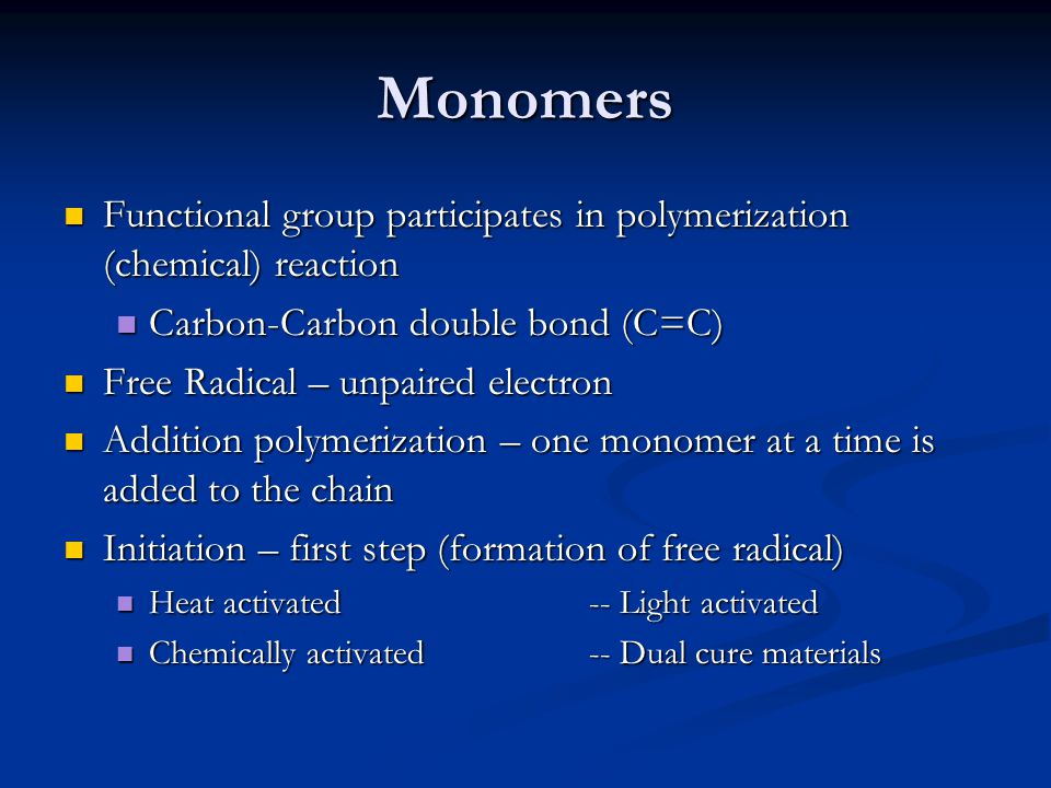 Monomers Functional group participates in polymerization (chemical) reaction Functional group participates in polymerization (chemical) reaction Carbo