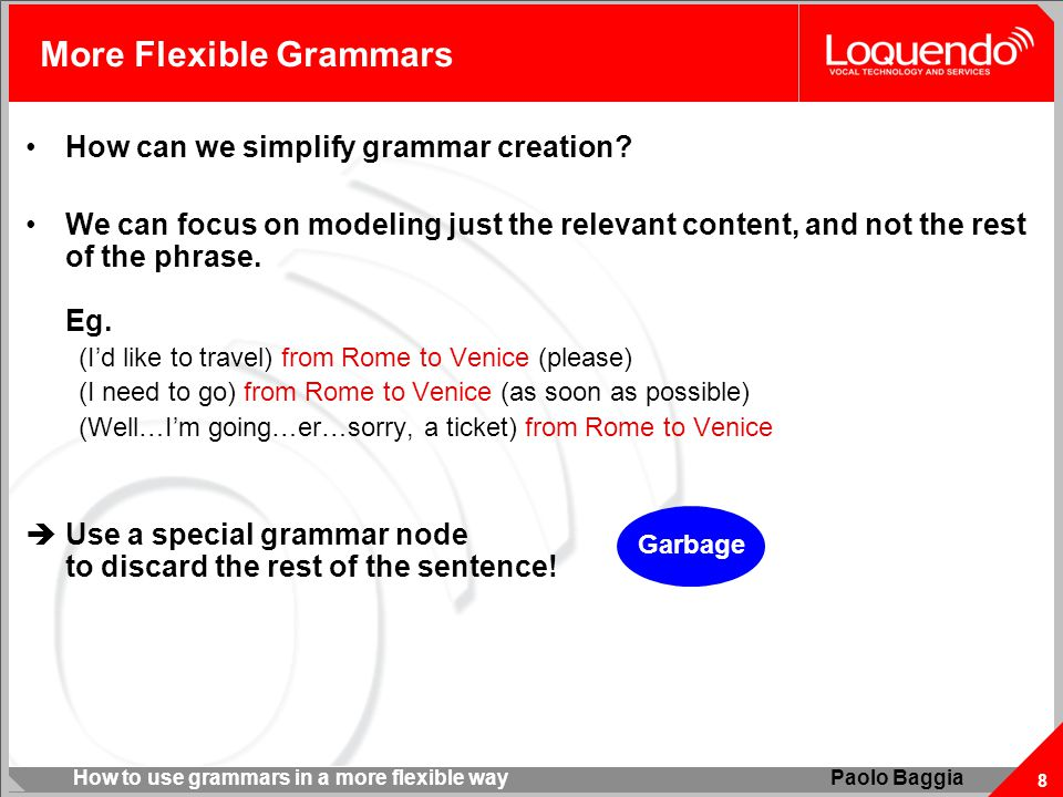How to use grammars in a more flexible way 8 Paolo Baggia More Flexible Grammars How can we simplify grammar creation? We can focus on modeling just t