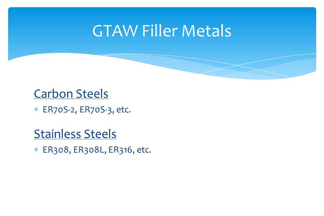 Carbon Steels  ER70S-2, ER70S-3, etc. Stainless Steels  ER308, ER308L, ER316, etc.