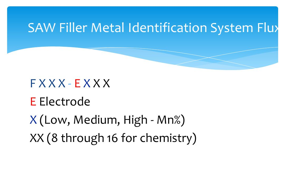 F X X X - E X X X E Electrode X (Low, Medium, High - Mn%) XX (8 through 16 for chemistry) SAW Filler Metal Identification System Flux