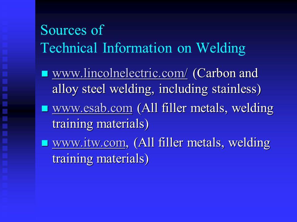Sources of Technical Information on Welding www.specialmetals.com/smc_weld ing.htm (Nickel alloys) www.specialmetals.com/smc_weld ing.htm (Nickel alloys) www.specialmetals.com/smc_weld ing.htm www.specialmetals.com/smc_weld ing.htm www.haynesintl.com/ nickel and cobalt alloys www.haynesintl.com/ nickel and cobalt alloys www.haynesintl.com/