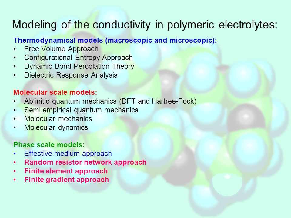 Phase scale model of the solid composite polymeric electrolyte Sample consists of three different phases: Original polymeric electrolyte – matrix Grains Amorphous grain shells R t Last two form so called composite grain characterized with the t/R ratio.