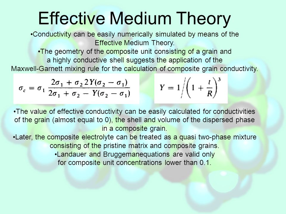 Effective Medium Theory The obtained set of equations allows to predict conductivity of the composite in all filler concentration ranges.