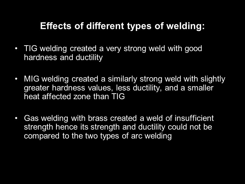 Effects of different types of welding: TIG welding created a very strong weld with good hardness and ductility MIG welding created a similarly strong weld with slightly greater hardness values, less ductility, and a smaller heat affected zone than TIG Gas welding with brass created a weld of insufficient strength hence its strength and ductility could not be compared to the two types of arc welding
