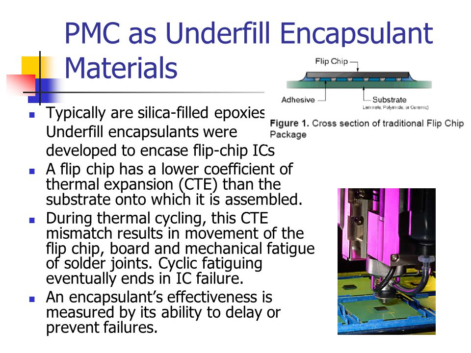 PMC as Underfill Encapsulant Materials Typically are silica-filled epoxies Underfill encapsulants were developed to encase flip-chip ICs A flip chip has a lower coefficient of thermal expansion (CTE) than the substrate onto which it is assembled.
