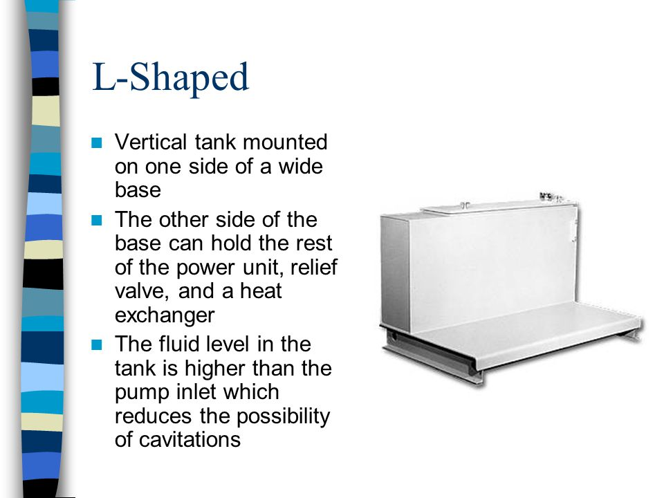 L-Shaped Vertical tank mounted on one side of a wide base The other side of the base can hold the rest of the power unit, relief valve, and a heat exc