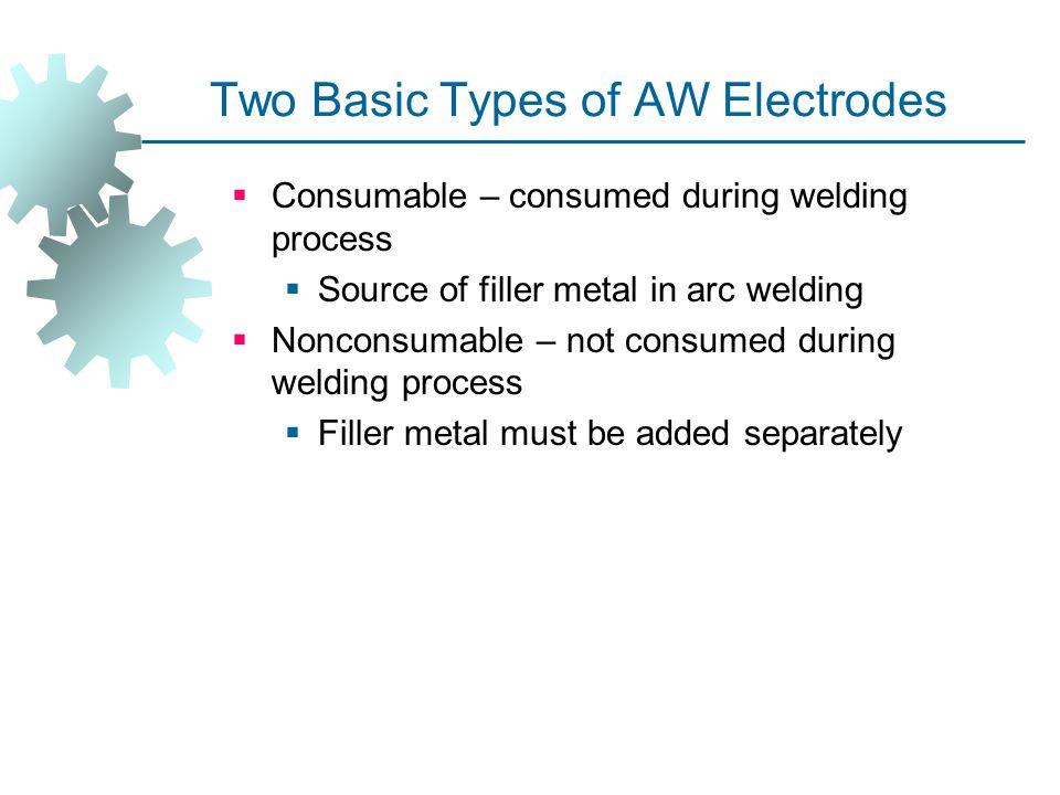 Two Basic Types of AW Electrodes  Consumable – consumed during welding process  Source of filler metal in arc welding  Nonconsumable – not consumed