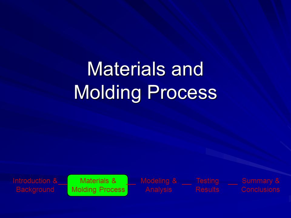 Materials and Molding Process Introduction & Background Materials & Molding Process Modeling & Analysis Testing Results Summary & Conclusions