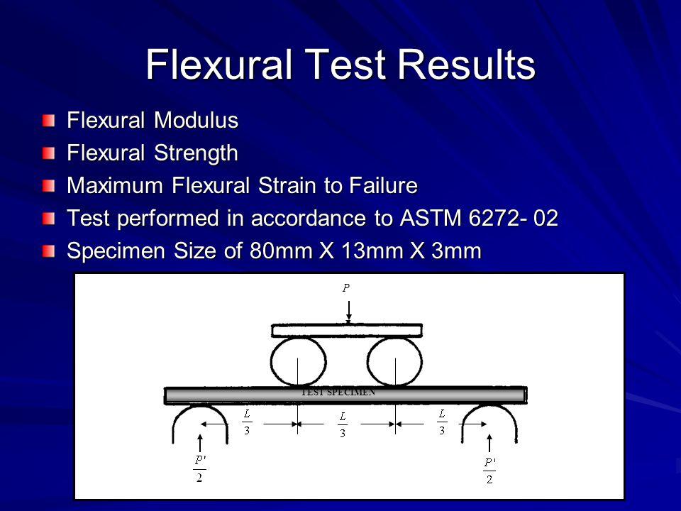 Flexural Test Results Flexural Modulus Flexural Strength Maximum Flexural Strain to Failure Test performed in accordance to ASTM 6272- 02 Specimen Size of 80mm X 13mm X 3mm P TEST SPECIMEN