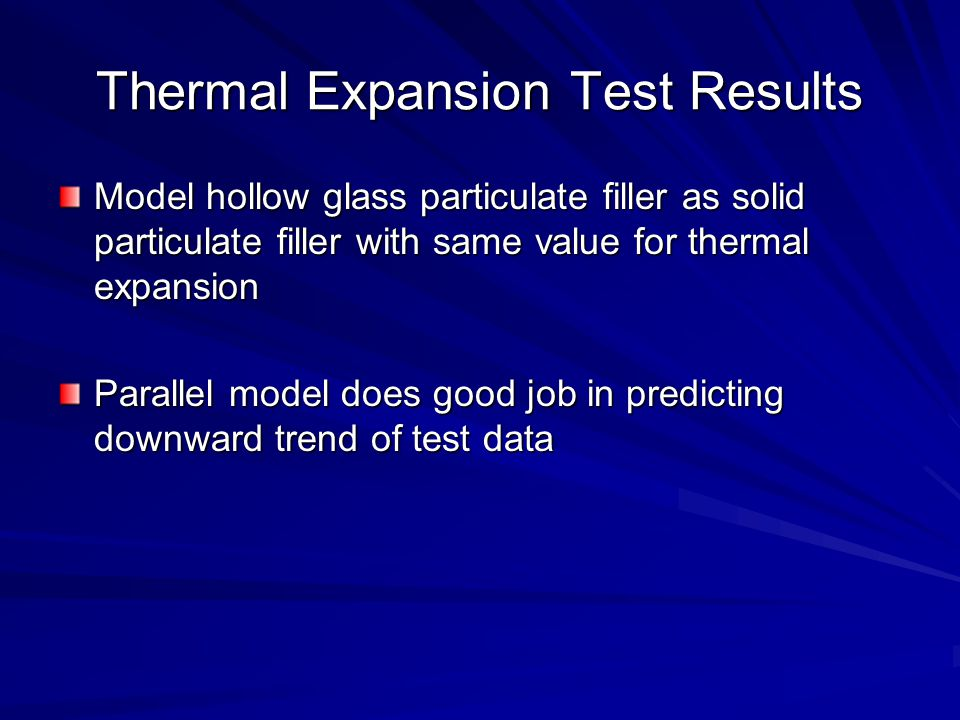 Thermal Expansion Test Results Model hollow glass particulate filler as solid particulate filler with same value for thermal expansion Parallel model does good job in predicting downward trend of test data