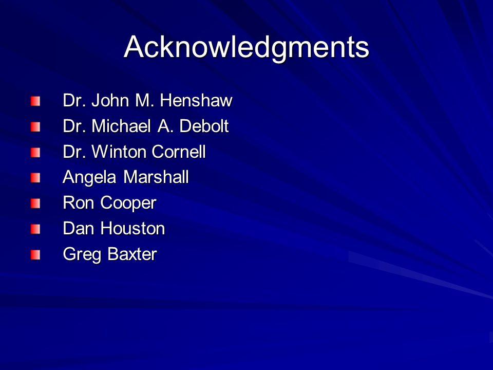 Acknowledgments Dr. John M. Henshaw Dr. Michael A.