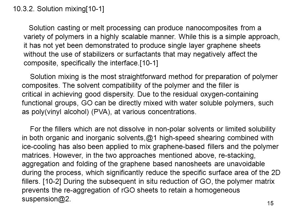 15 10.3.2. Solution mixing[10-1] Solution casting or melt processing can produce nanocomposites from a variety of polymers in a highly scalable manner